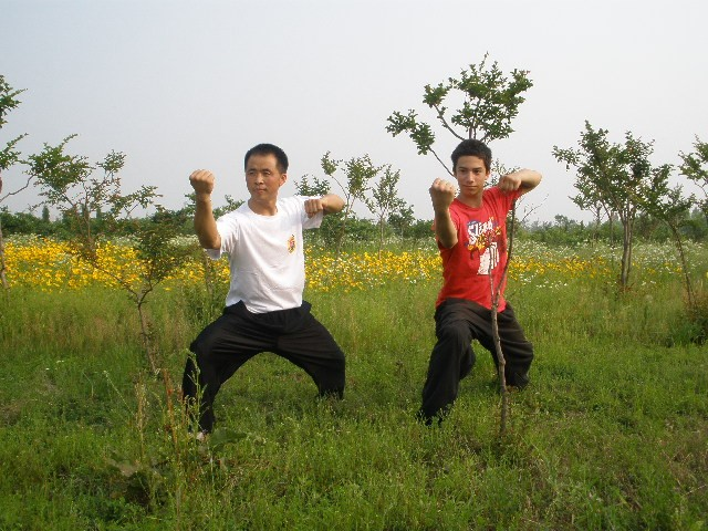 Training kungfu in the park of Laixi
